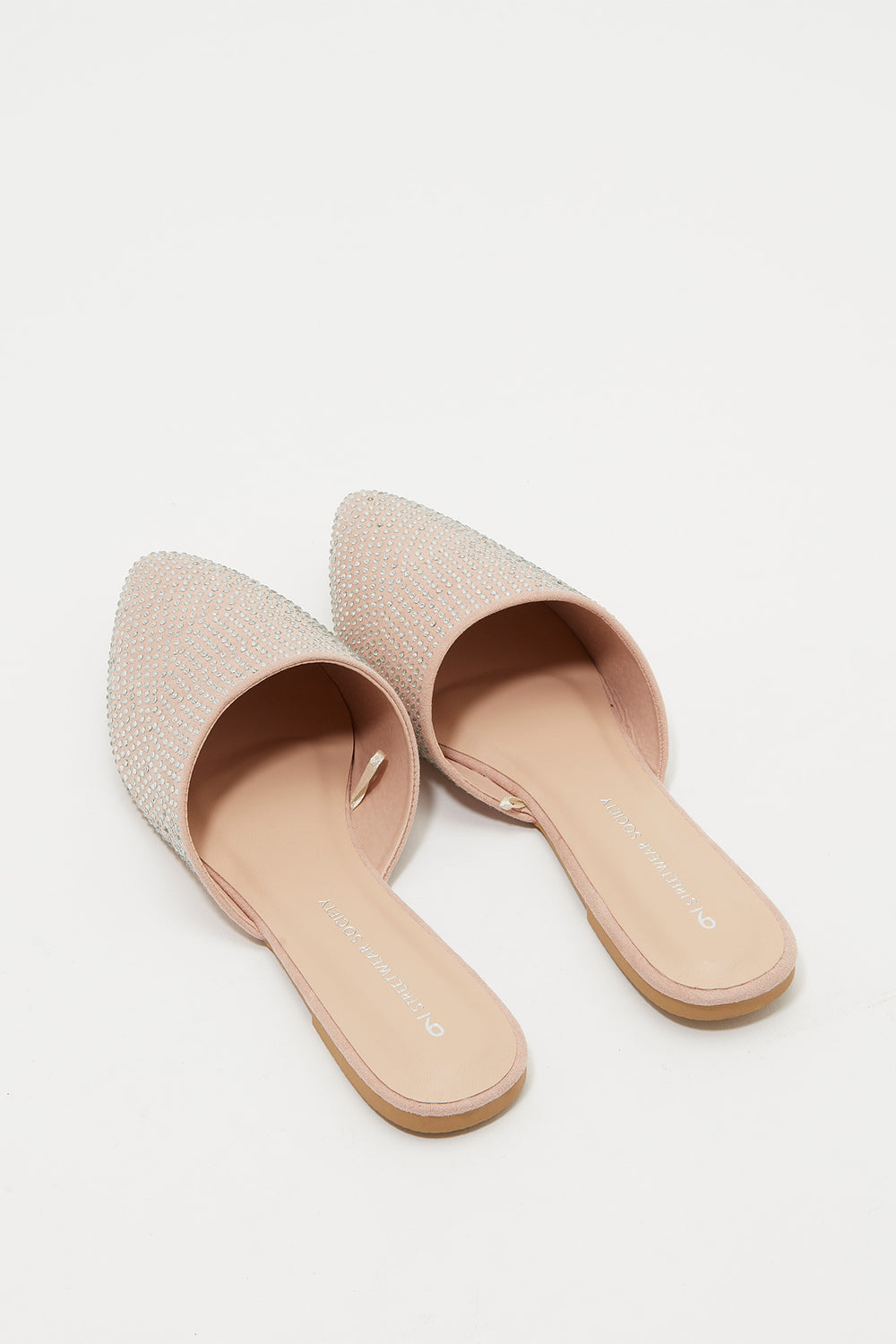 Pointed Rhinestone Mule Flat Light Pink