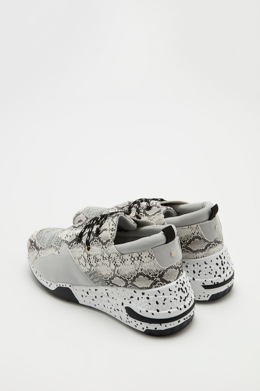 Lace-Up Speckle Outsole Sneaker Black with White