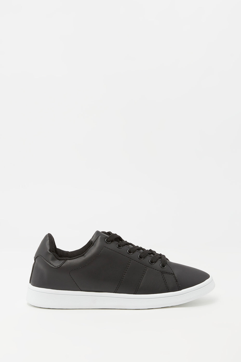 Lace-Up Faux Leather Tonal Sneaker Black