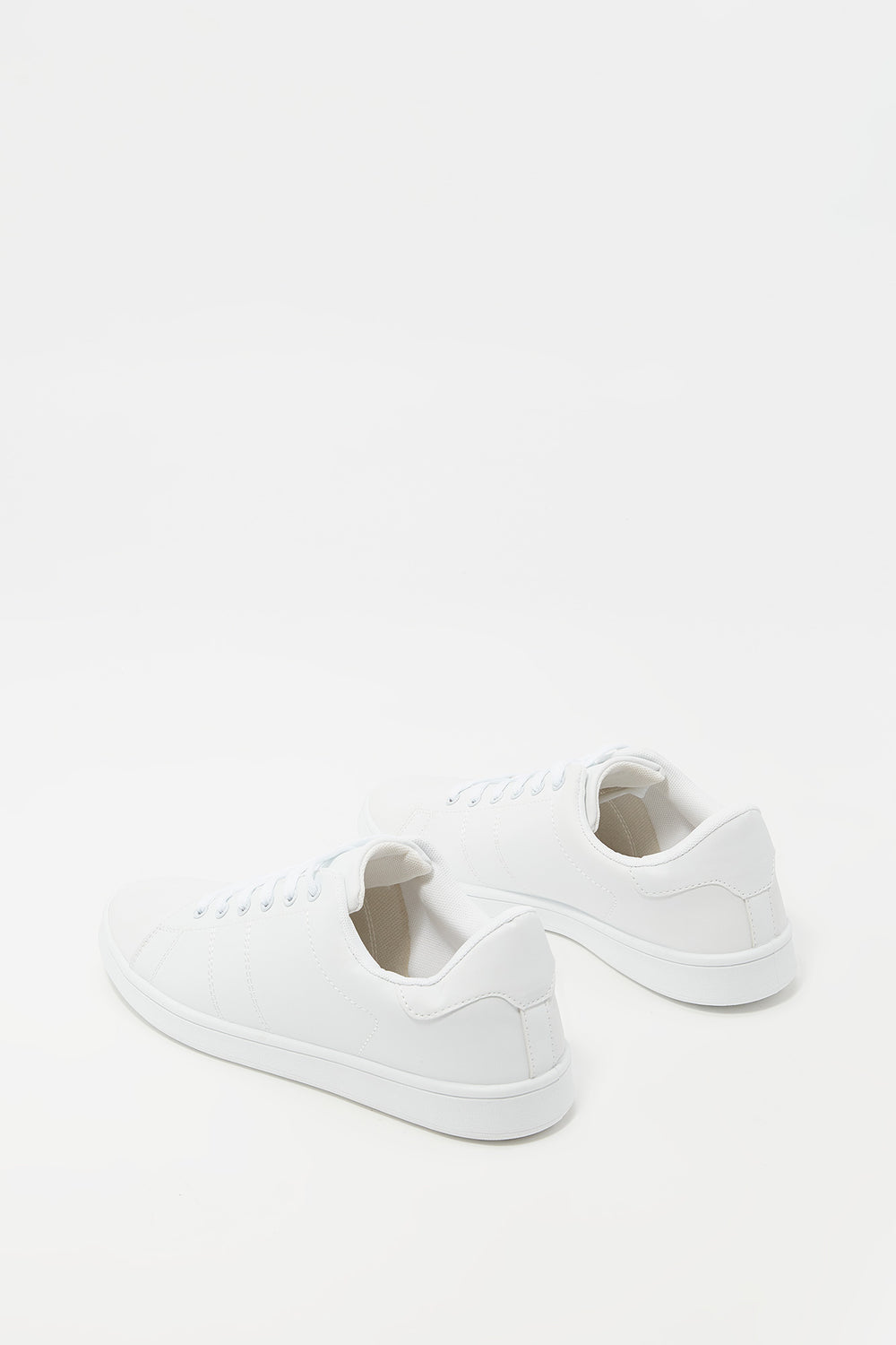 Lace-Up Faux Leather Tonal Sneaker White