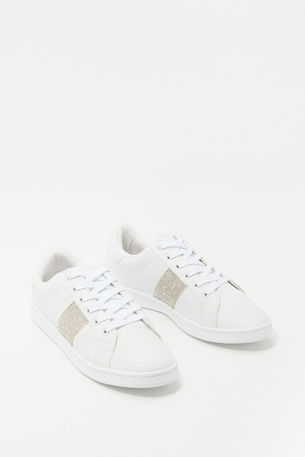 Lace-Up Faux Leather Tonal Sneaker Off White