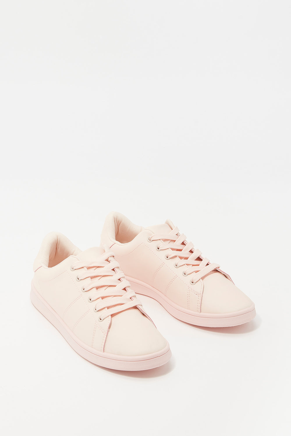 Lace-Up Faux Leather Tonal Sneaker Light Pink