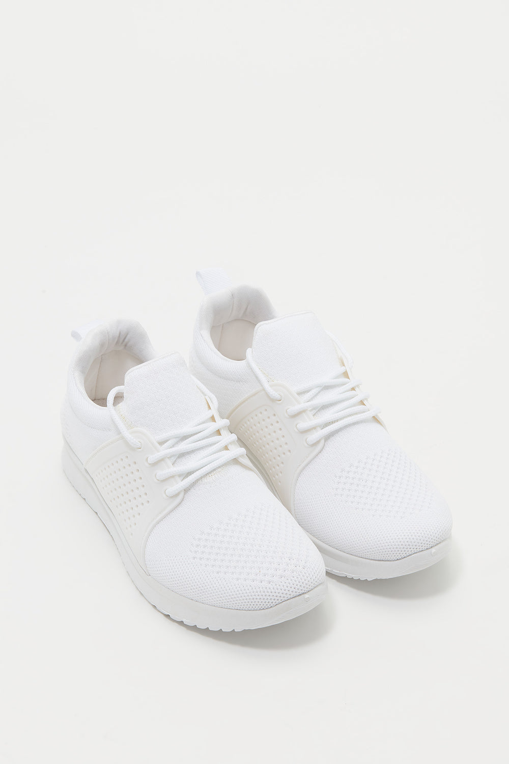Knit Lace-Up Foam Insole Sneaker White
