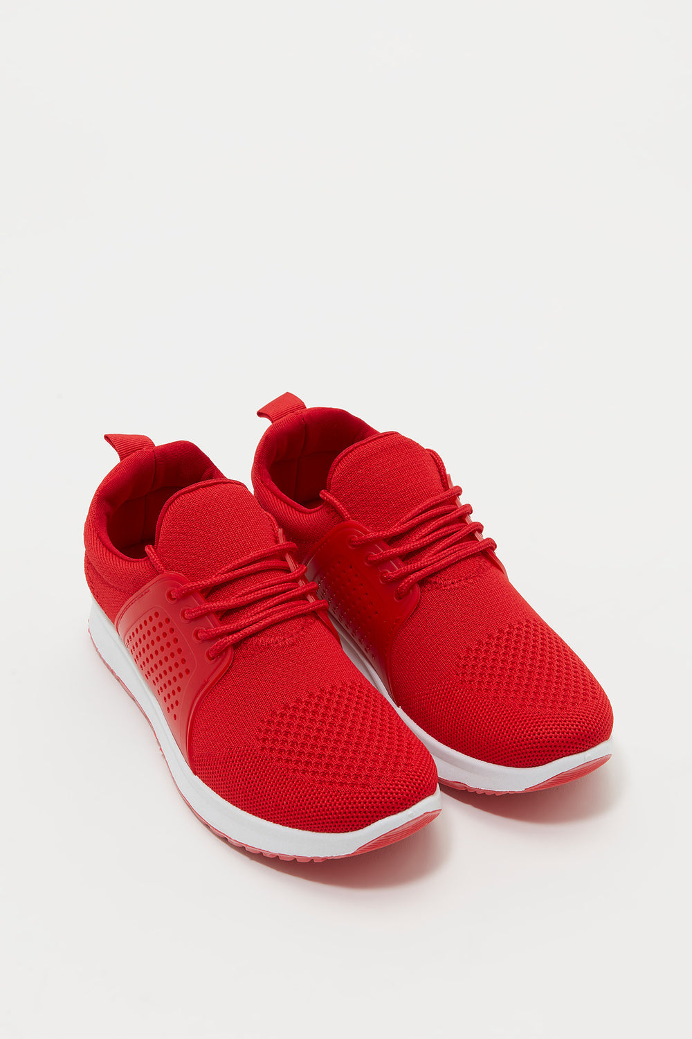 Knit Lace-Up Foam Insole Sneaker Red