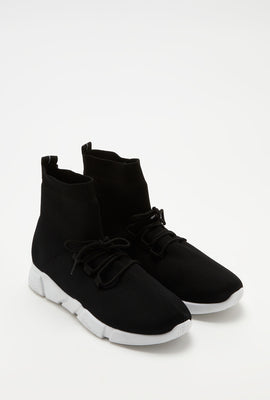 High-Top Knit Lace-Up Sneaker
