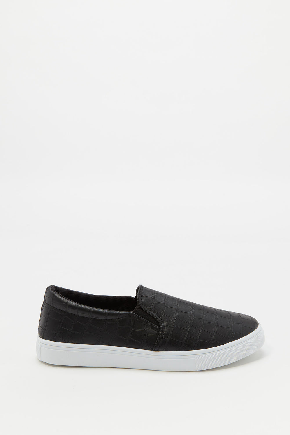 Faux-Leather Slip-On Sneaker Solid Black