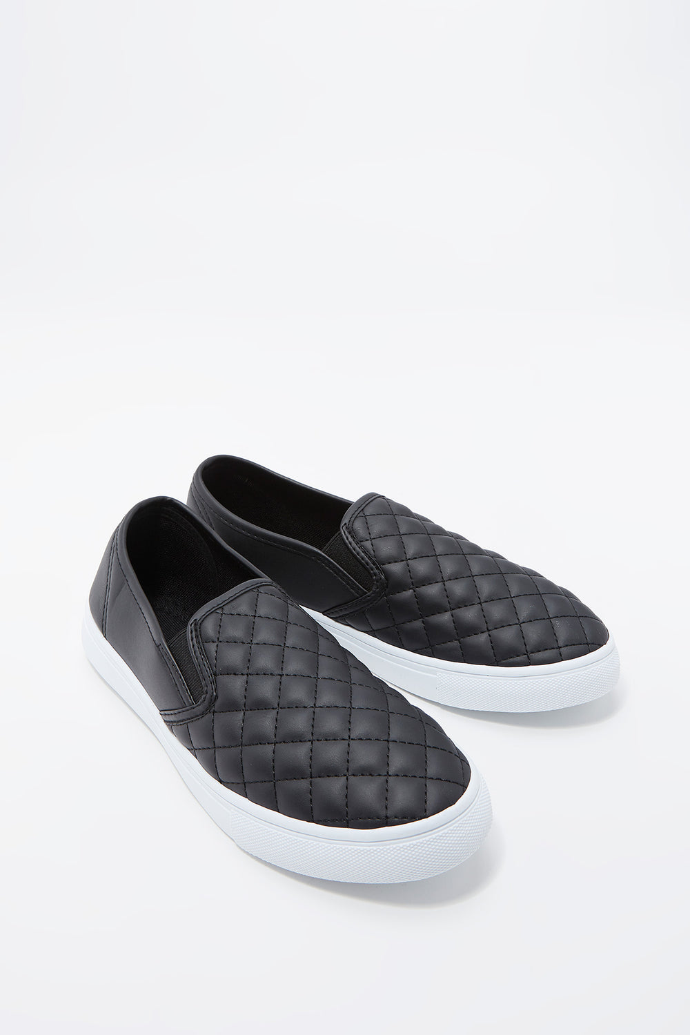 Quilted Faux-Leather Slip-On Sneaker Black