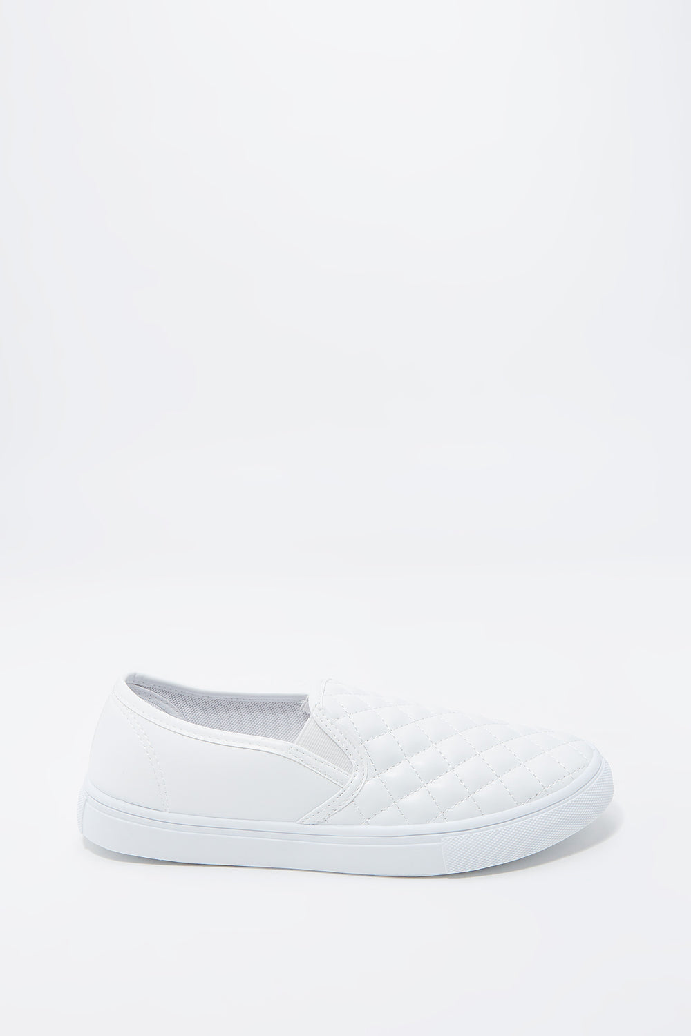 Quilted Faux-Leather Slip-On Sneaker White