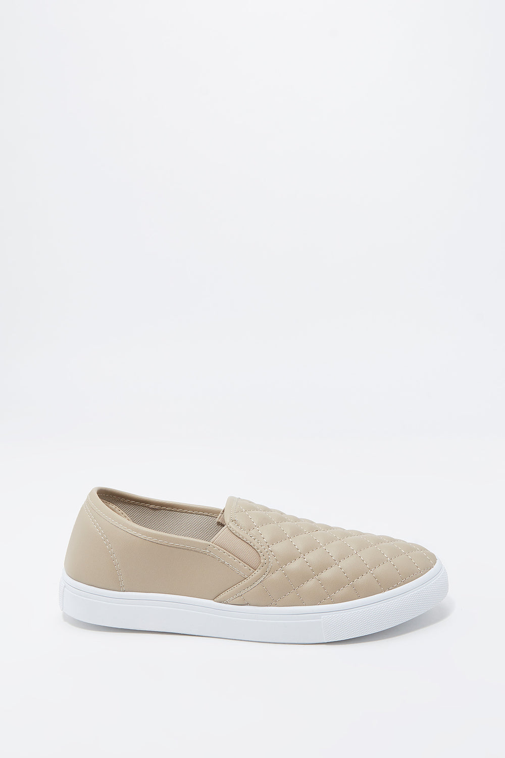 Quilted Faux-Leather Slip-On Sneaker Natural
