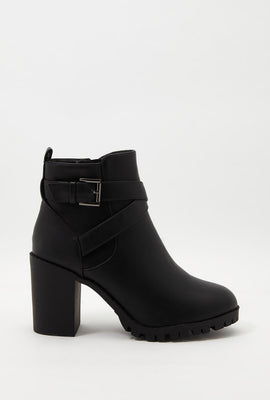 Buckle Faux-Leather Bootie