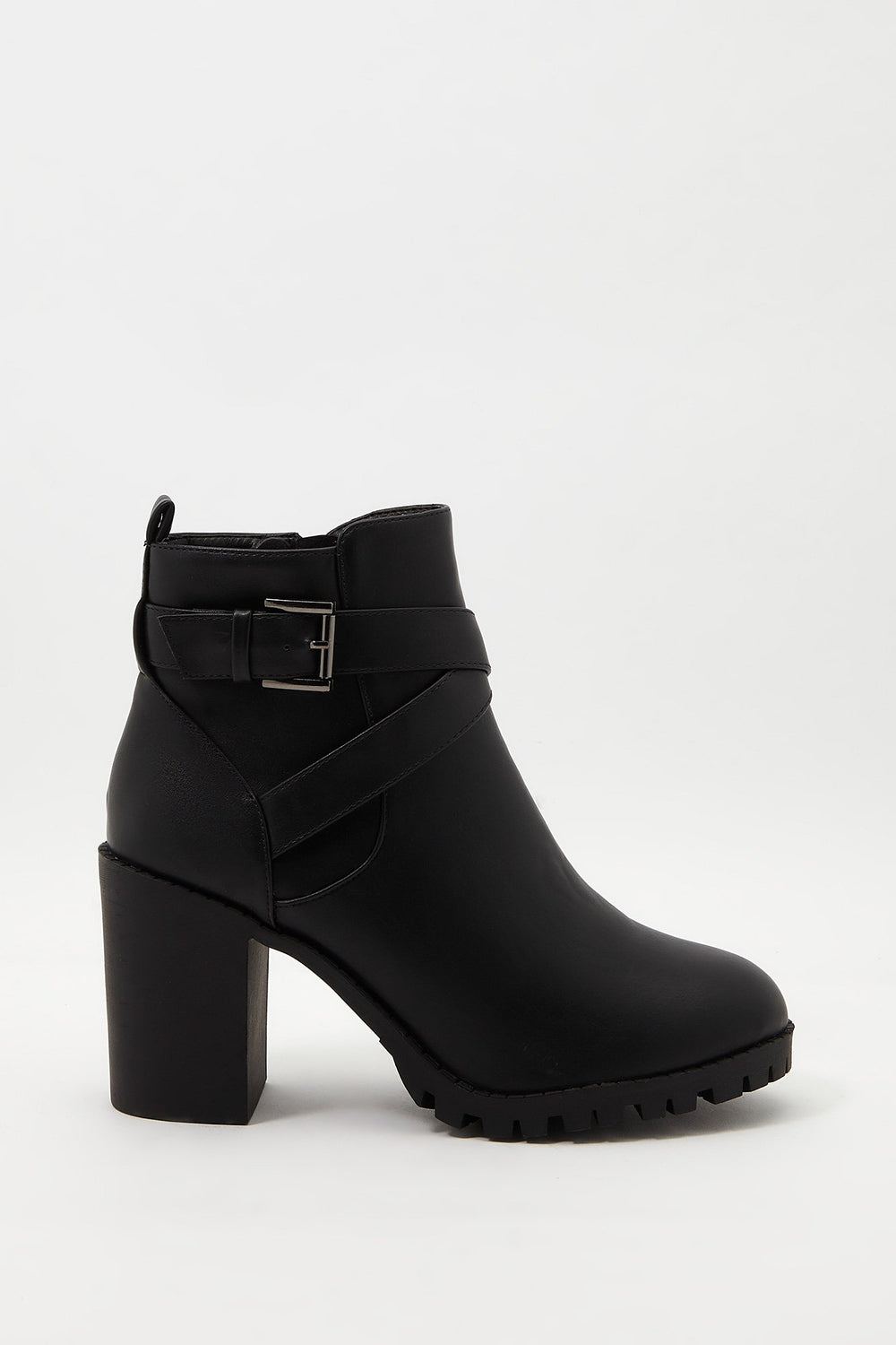 Buckle Faux-Leather Bootie Black