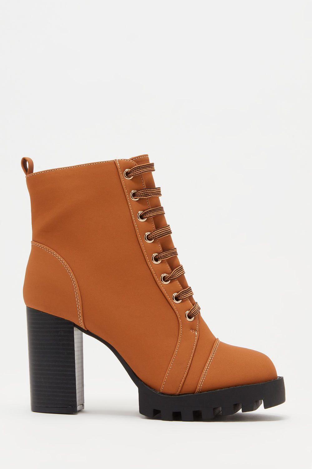 Lace-Up Platform Block Heel Bootie Tan
