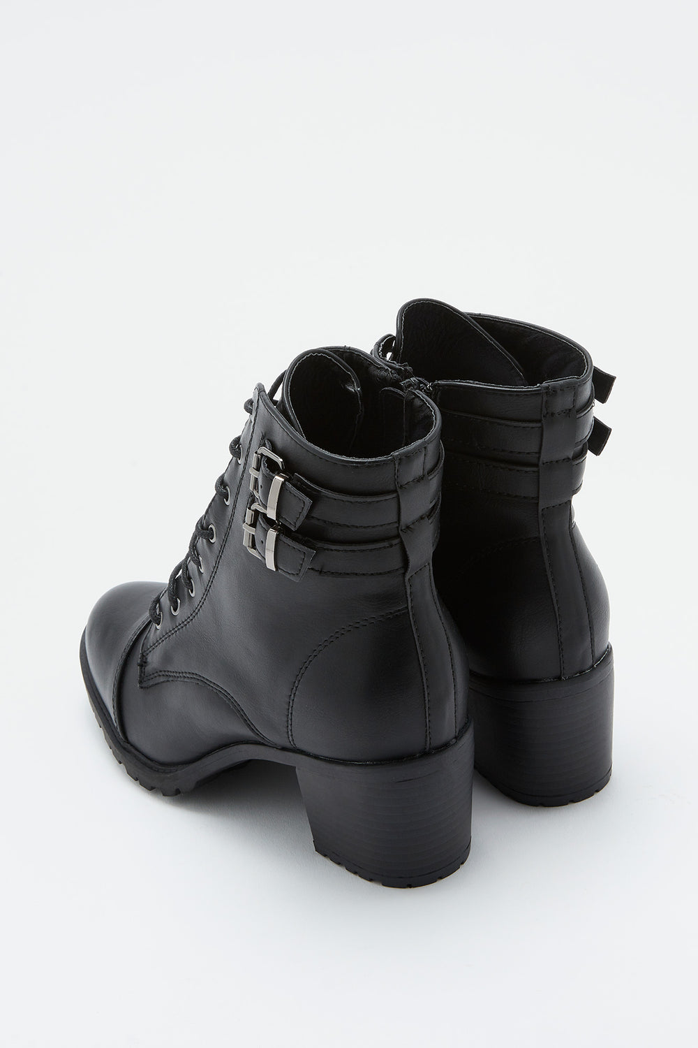 Lace-Up Heel Combat Boot Black