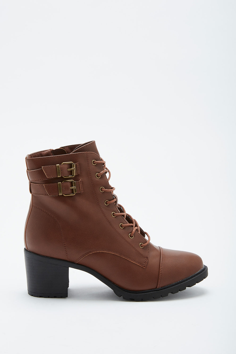 Lace-Up Heel Combat Boot Camel