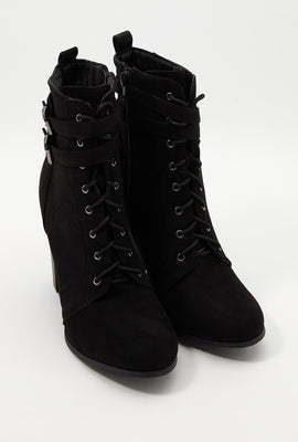 Faux-Suede Lace Up Bootie