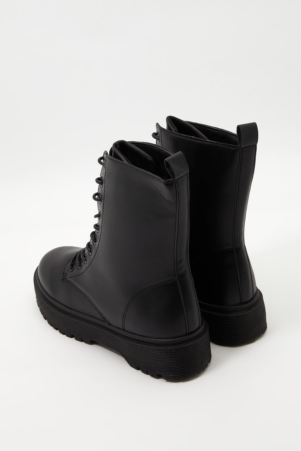 Classic Faux-Leather Combat Boot Black