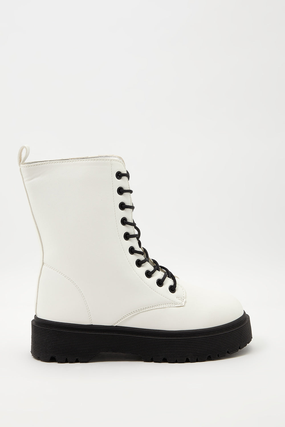 Classic Faux-Leather Combat Boot White