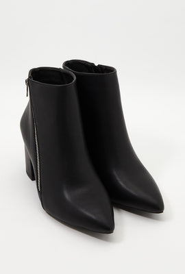 Pointed Faux-Leather Bootie