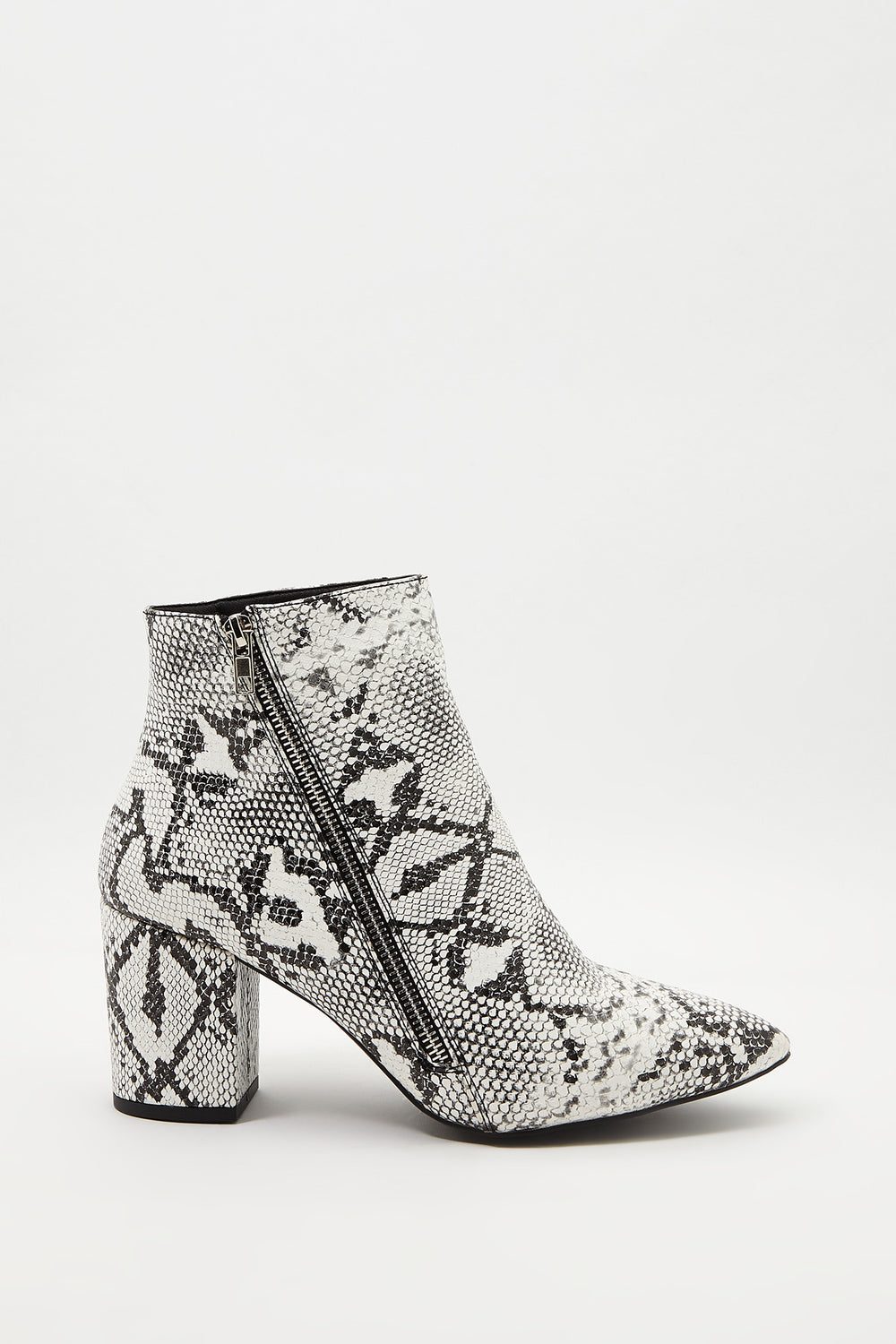 Pointed Faux-Leather Bootie Black with White