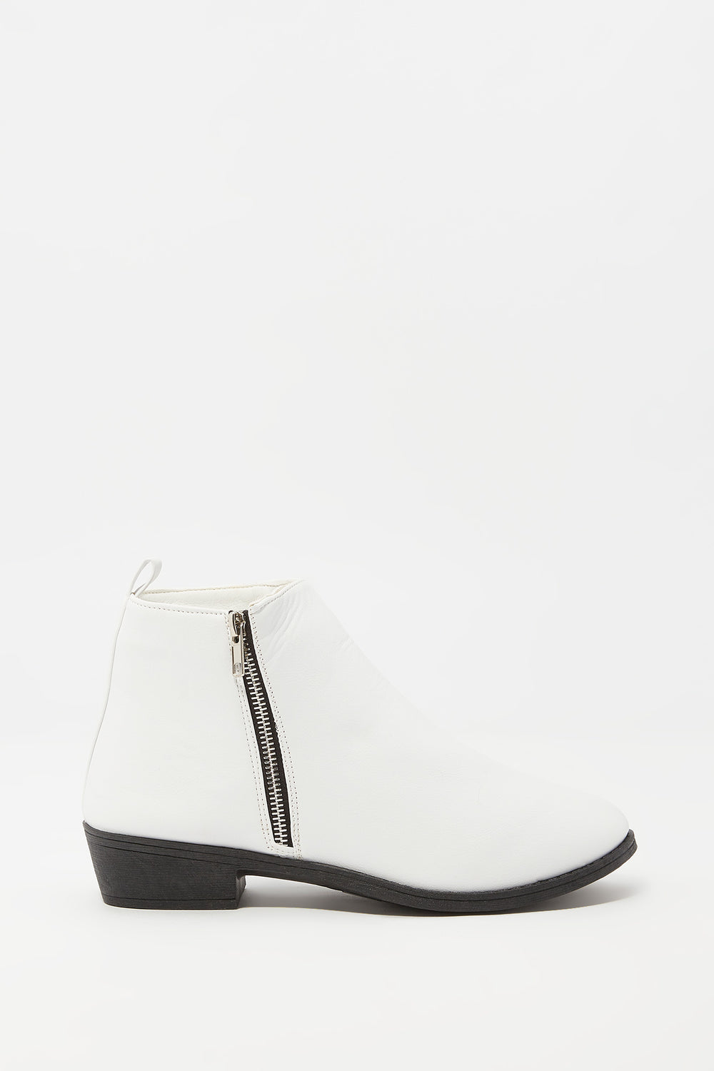 Faux-Leather Side Zip Ankle Bootie White