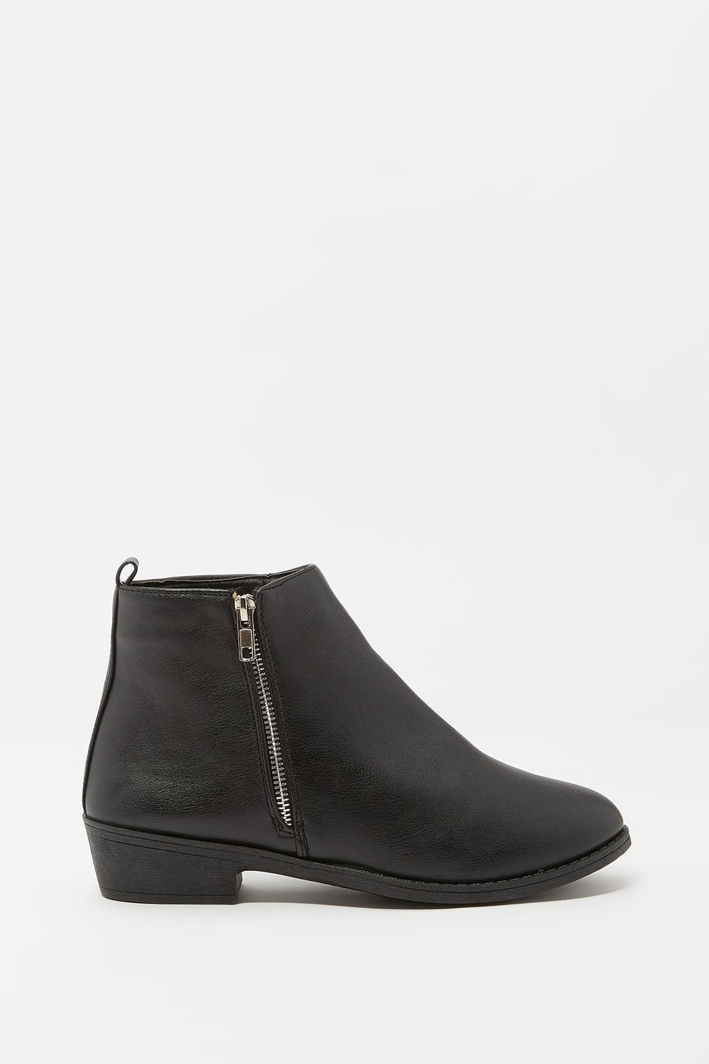 Faux-Leather Side Zip Ankle Bootie Plaid