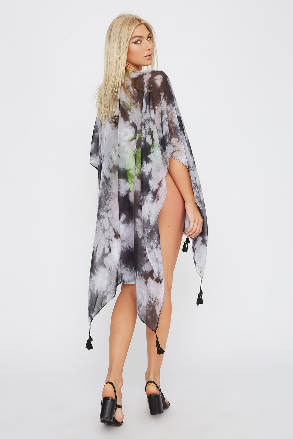 Printed Tassel Cover Up Black with White