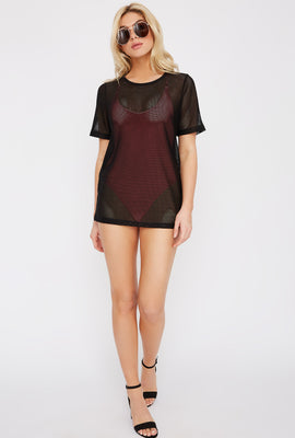 Mesh Scoop Neck Cover Up T-Shirt