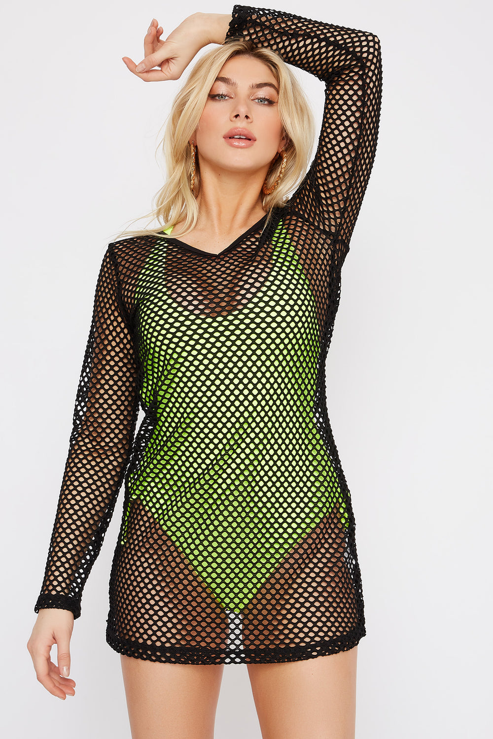 Long Sleeve V-Neck Net Beach Dress Black