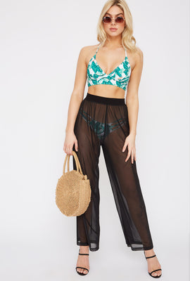 Mesh Wide Leg Cover Up Pant