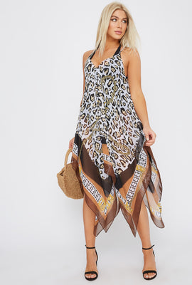 Printed Handkerchief Dress Cover Up