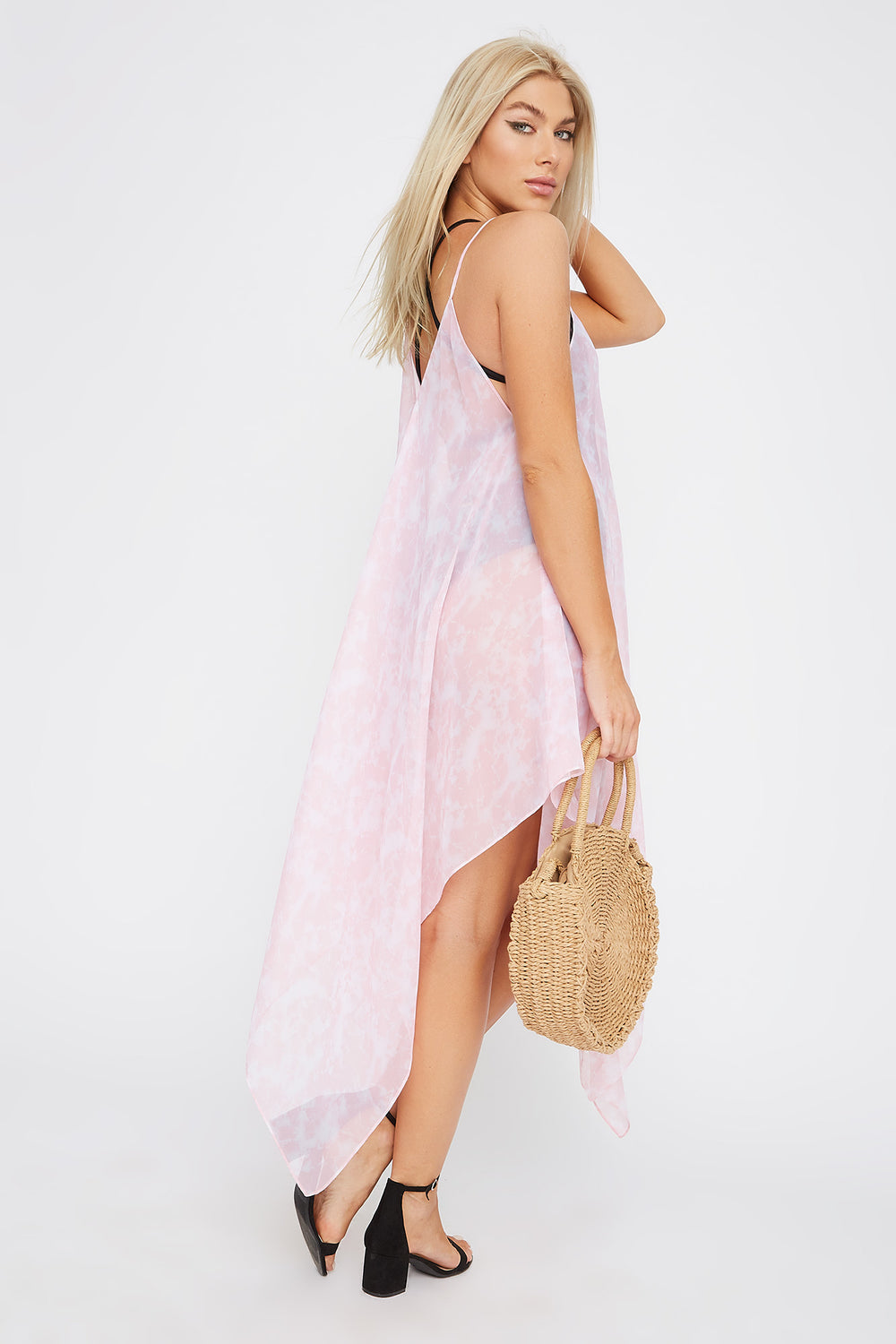 Printed Handkerchief Dress Cover Up Rose