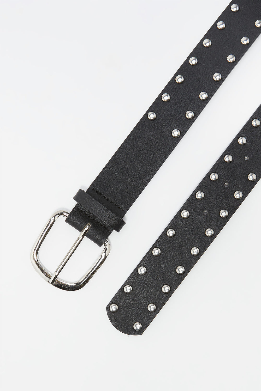 Faux-Leather Double Studded Buckle Belt Plaid