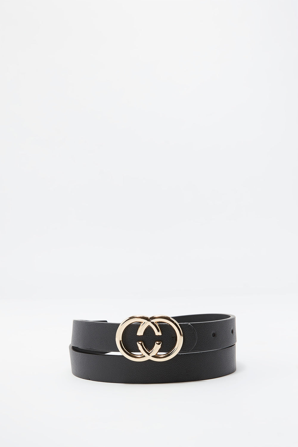 Faux-Leather Double Circle Belt Black