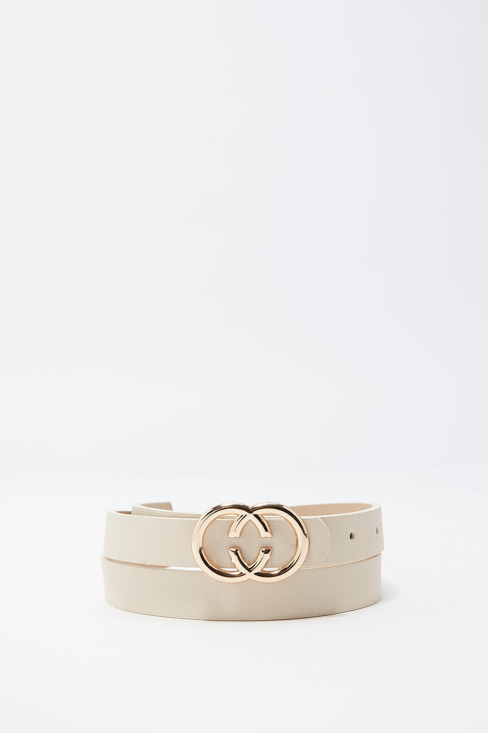 Faux-Leather Double Circle Belt Sand
