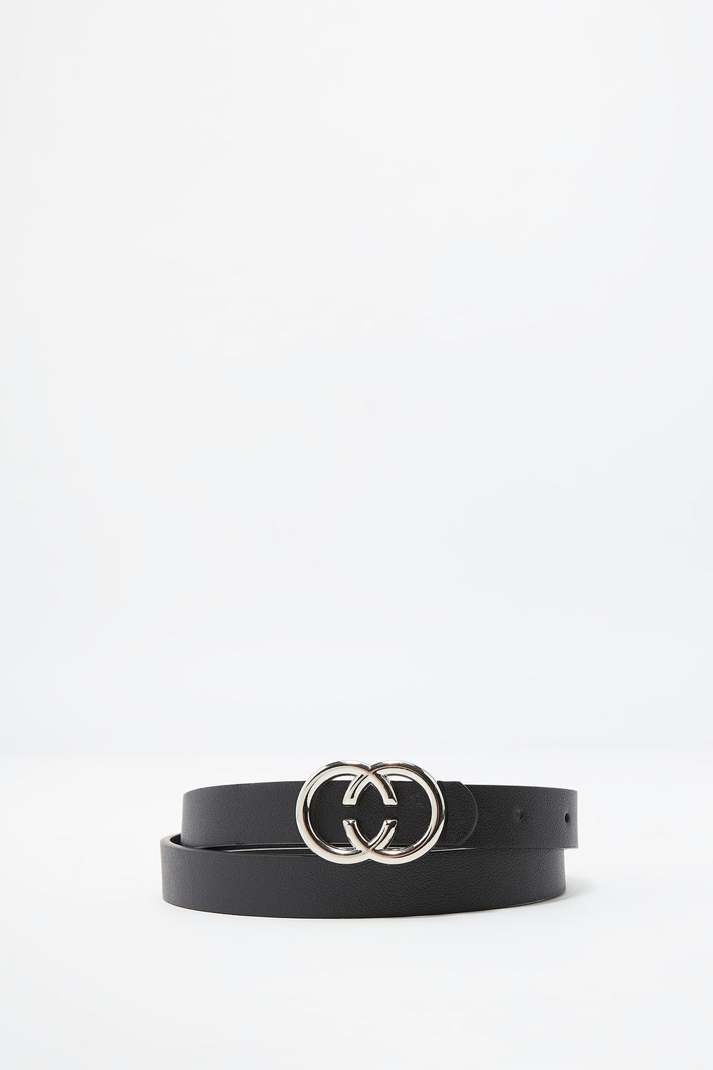 Faux-Leather Double Circle Belt Plaid
