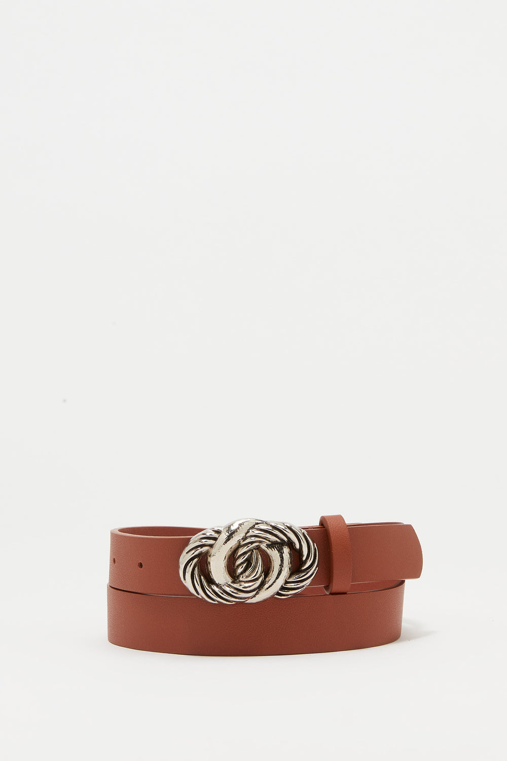 Knotted Buckle Faux-Leather Belt Camel