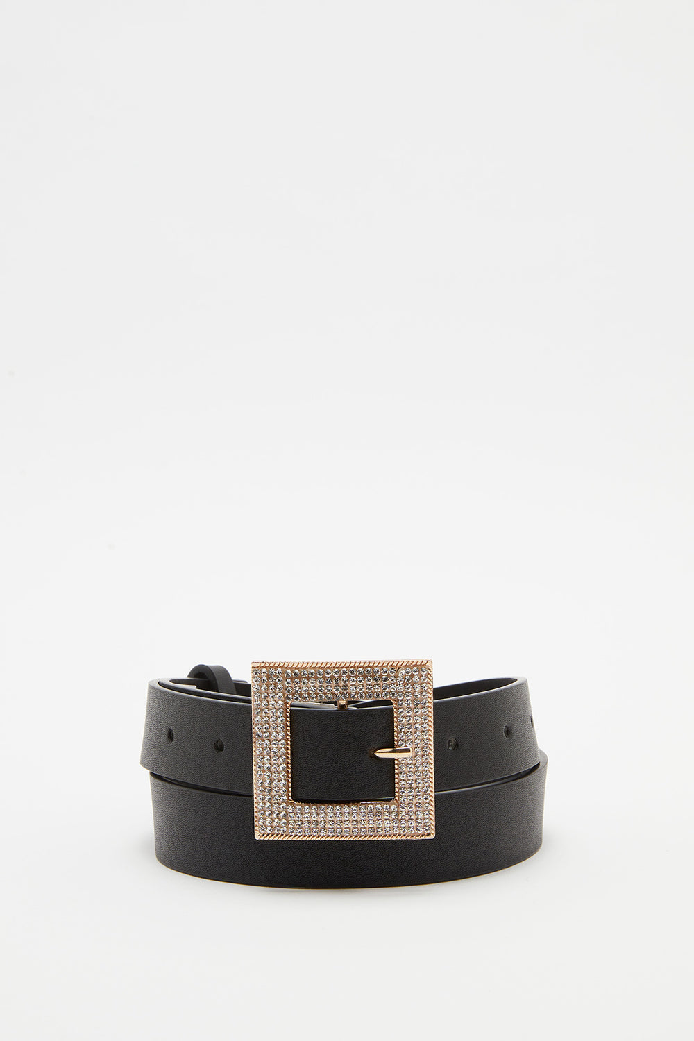 Rhinestone Square Buckle Belt Black