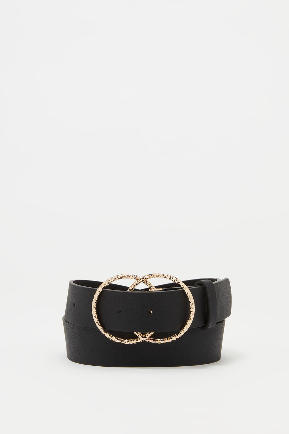 Textured Link Circle Belt Black