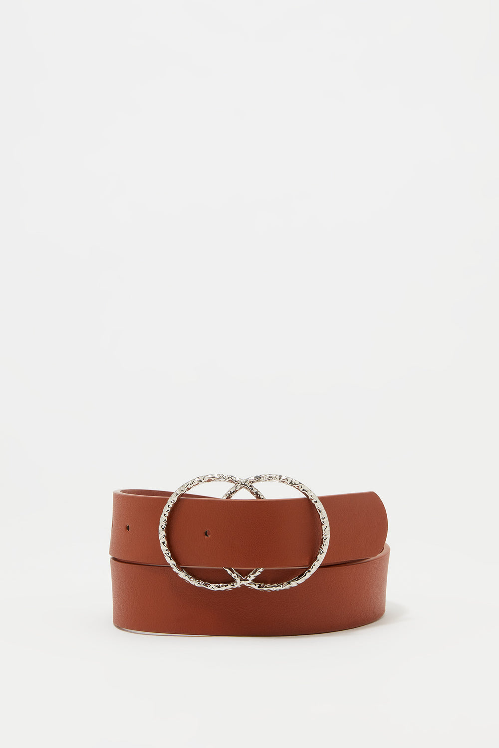 Textured Link Circle Belt Camel