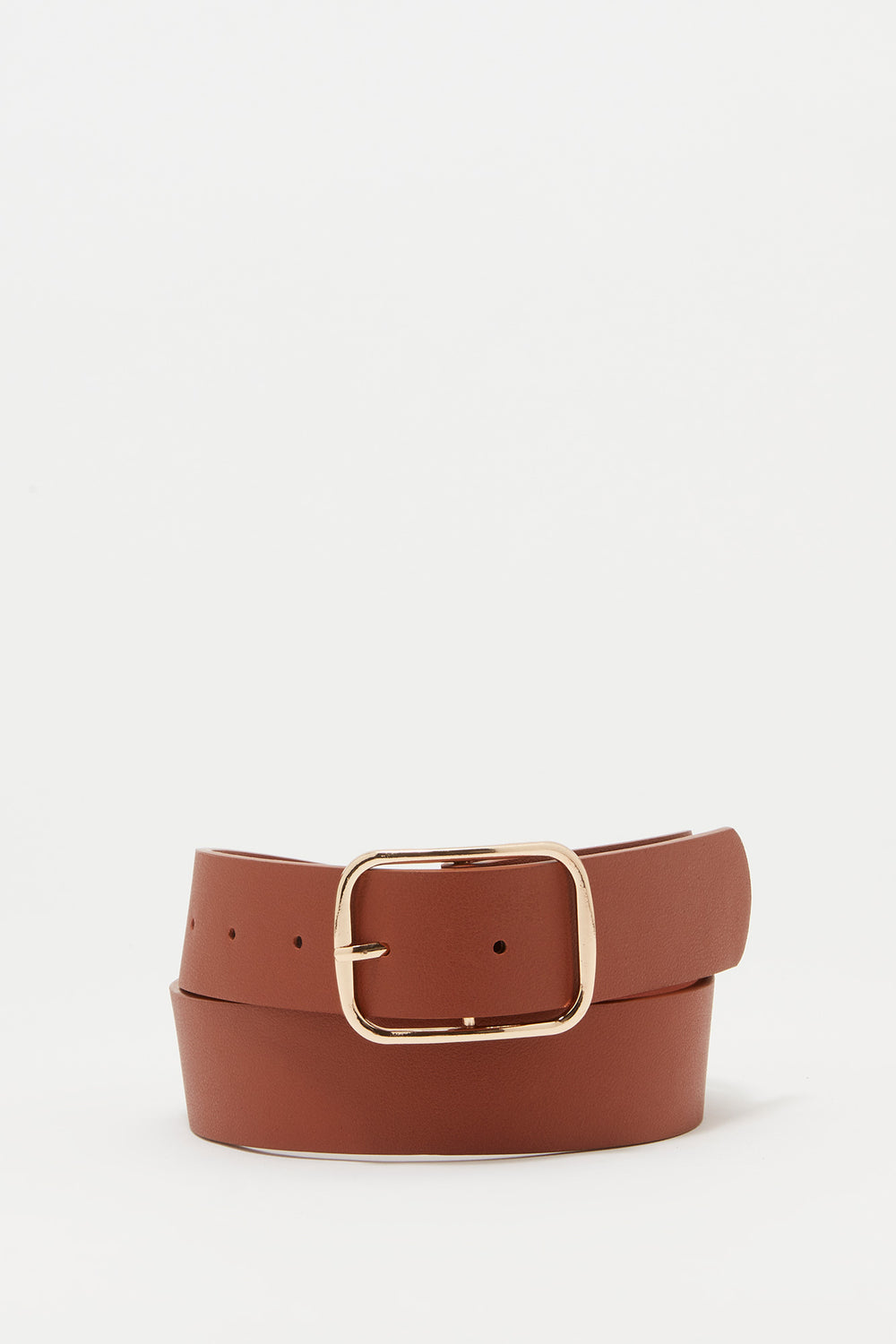Rectangle Buckle Faux-Leather Belt Camel