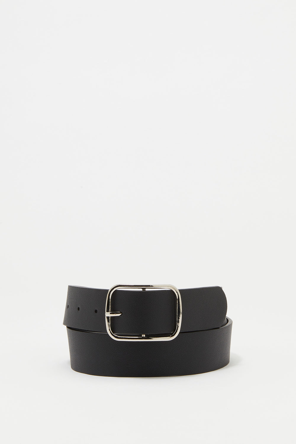 Rectangle Buckle Faux-Leather Belt Solid Black