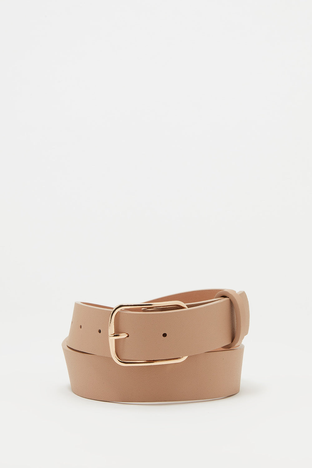 Rectangle Buckle Faux-Leather Belt Taupe