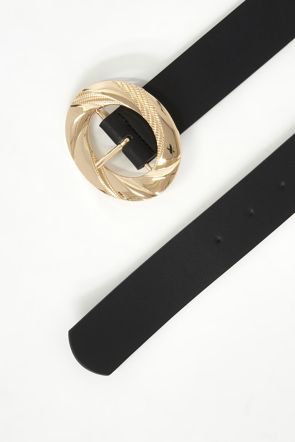 Textured Oval Buckle Belt Black