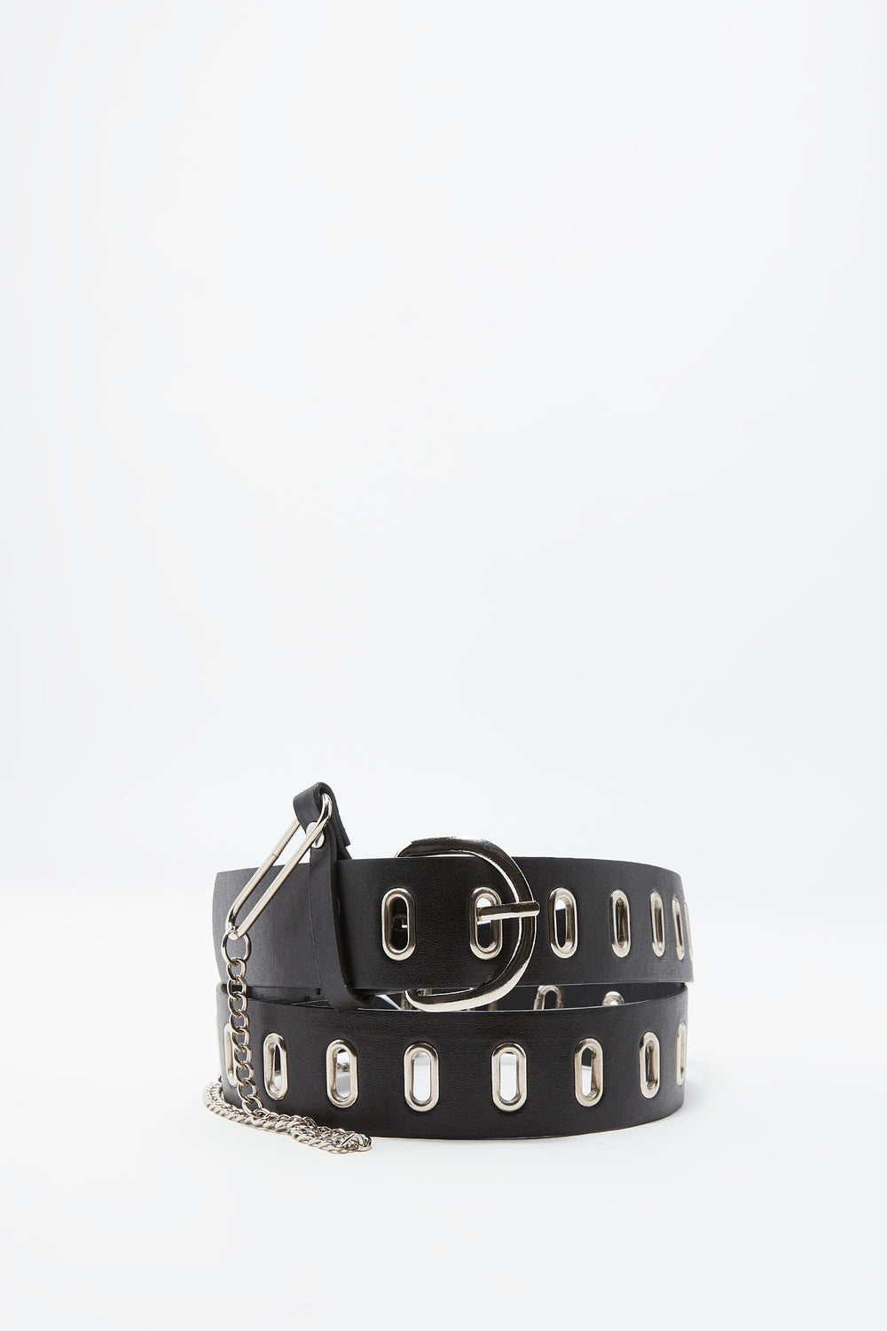 Faux-Leather Grommet Belt With Chain Plaid