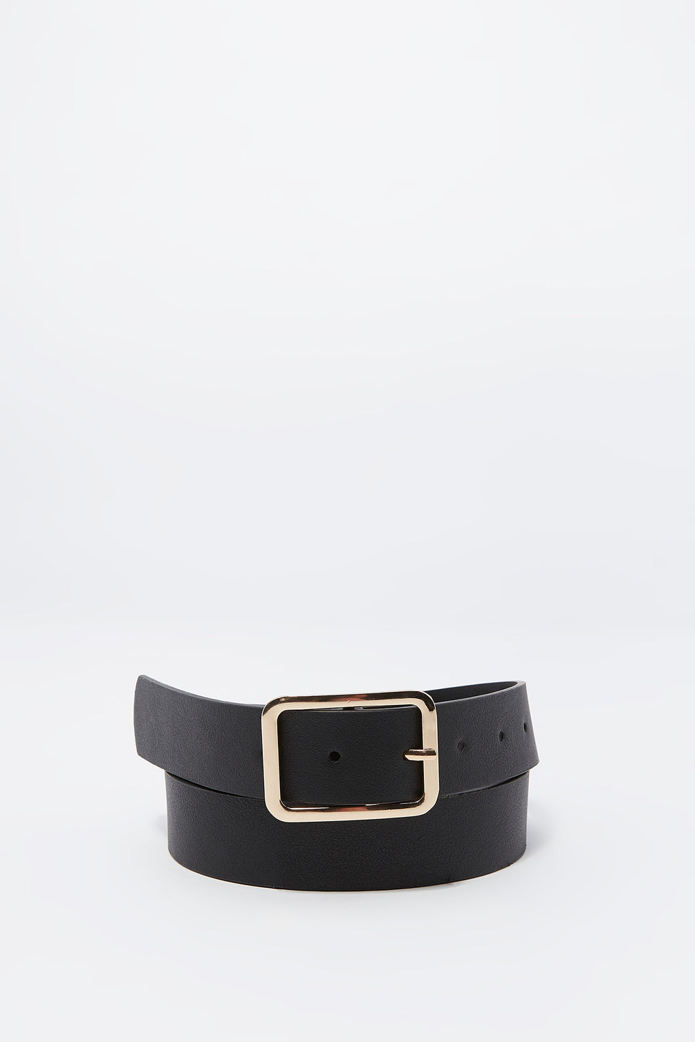 Faux-Leather Square Buckle Belt Black