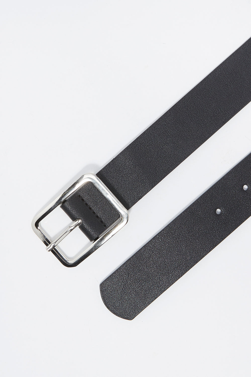 Faux-Leather Square Buckle Belt Plaid