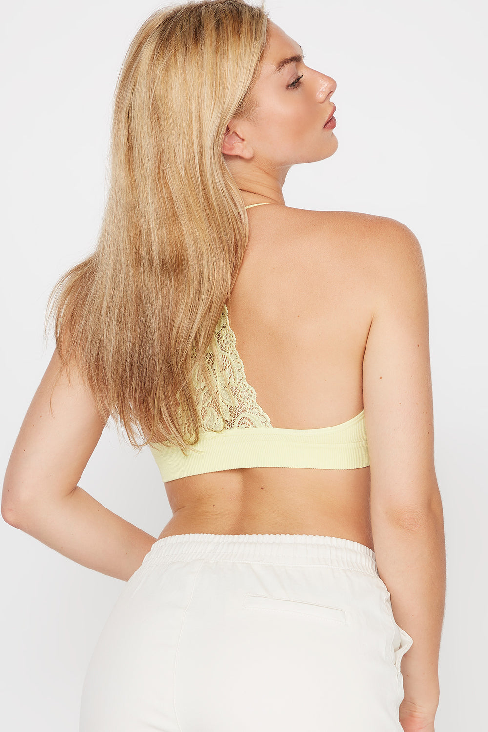 Seamless V-Neck Lace Back Bralette Neon Yellow
