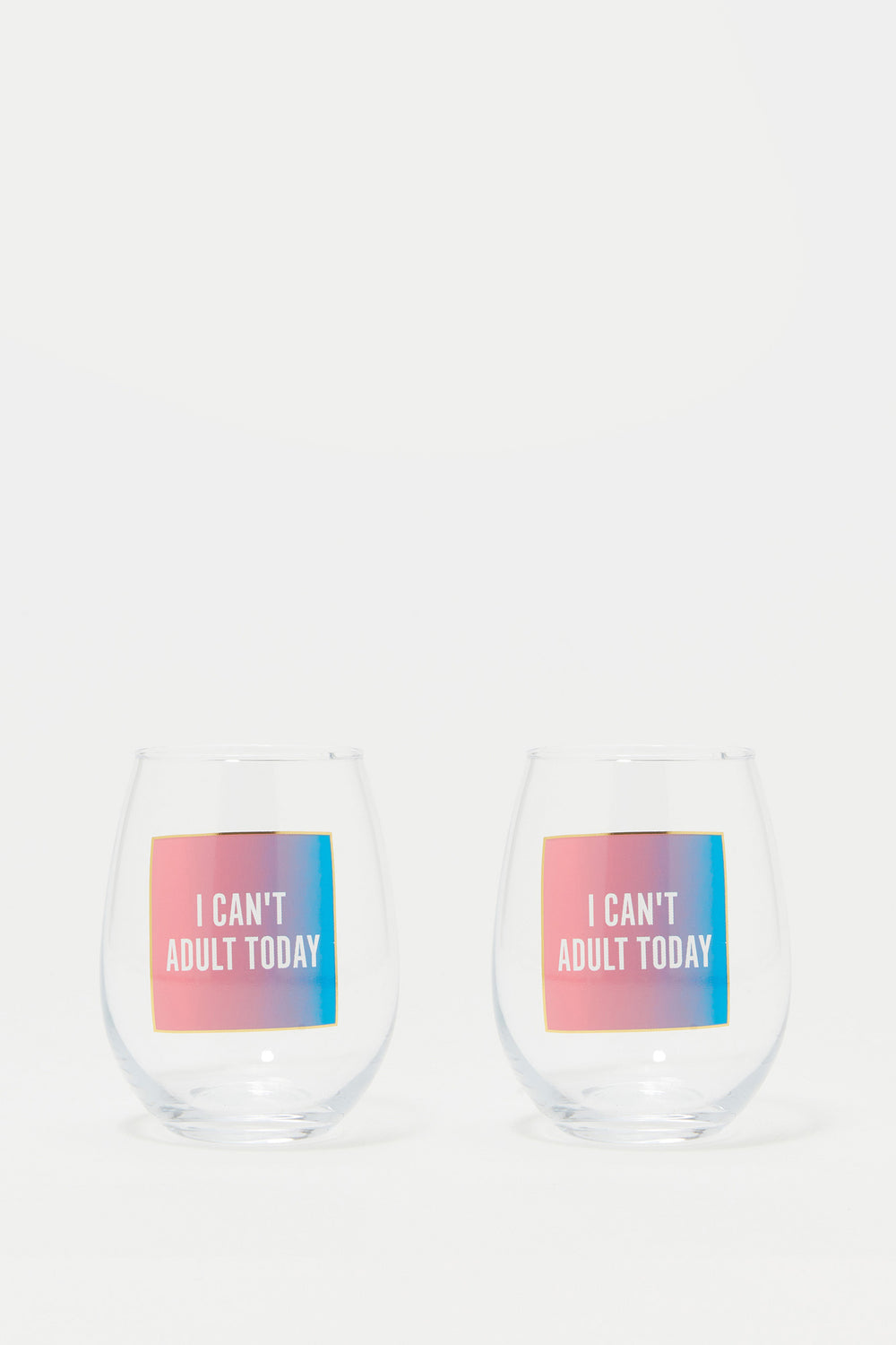 Stemless Wine Glass Graphic Set (2 PC) Pink