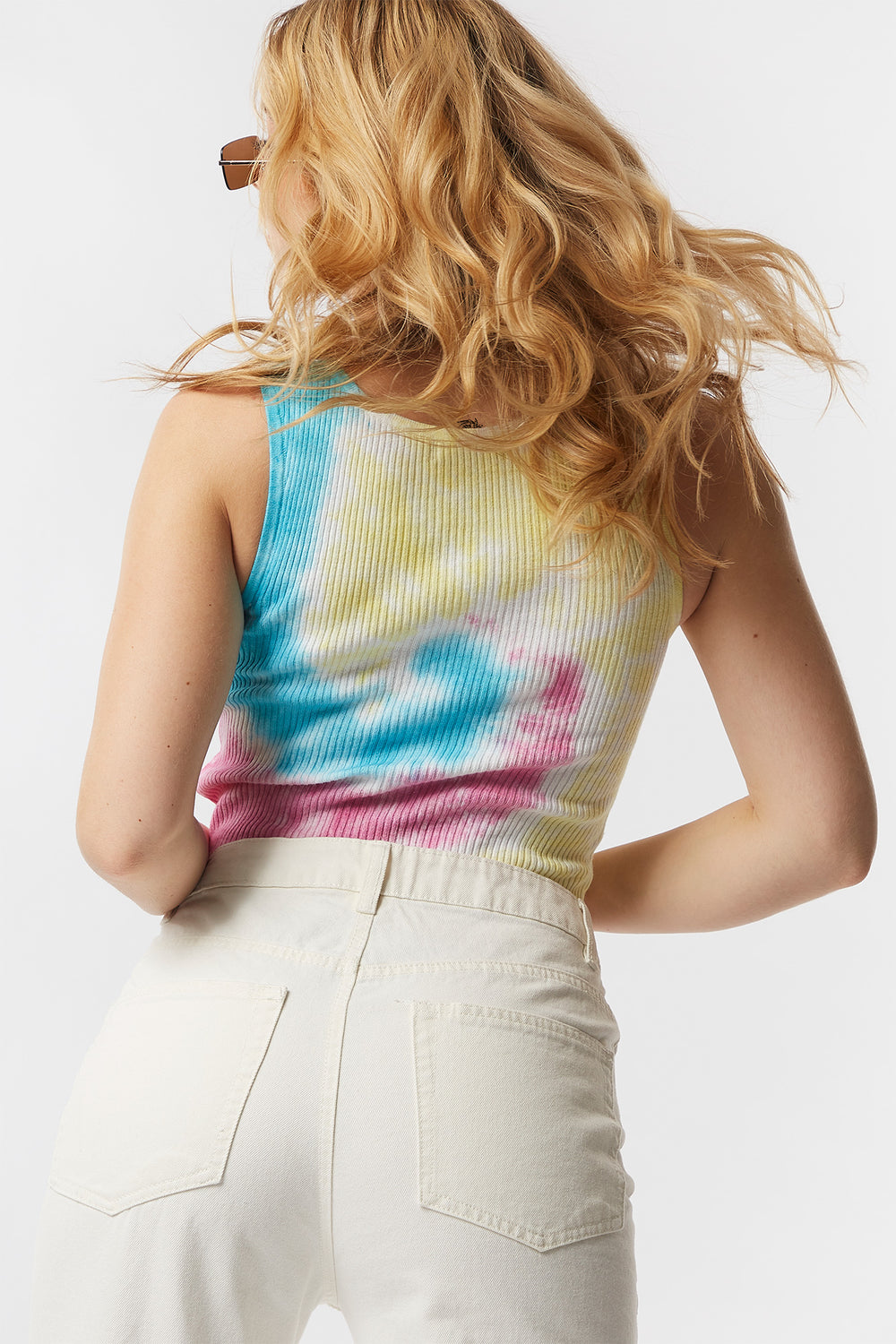 Ribbed Tie-Dye Notch Neck Cropped Tank Neon Yellow
