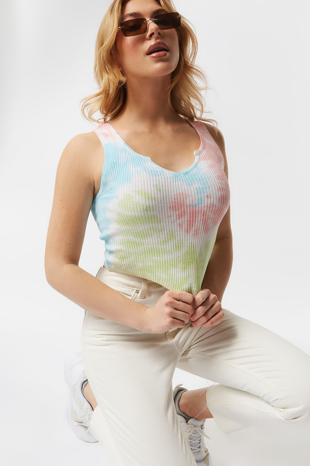 Ribbed Green Tie-Dye Notch Neck Cropped Tank Peach